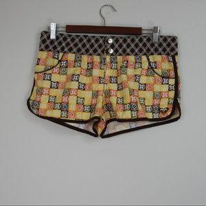 L414 Roxy Swim Boardshorts Brown Yellow Size 9